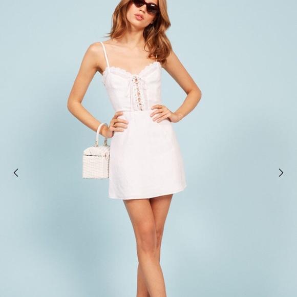 "ad56fbbb5a1 Reformation ""Reid"" white linen mini dress"